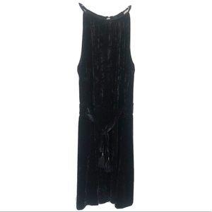 Lysse Black Velvet High Neck Dress Sleeveless S